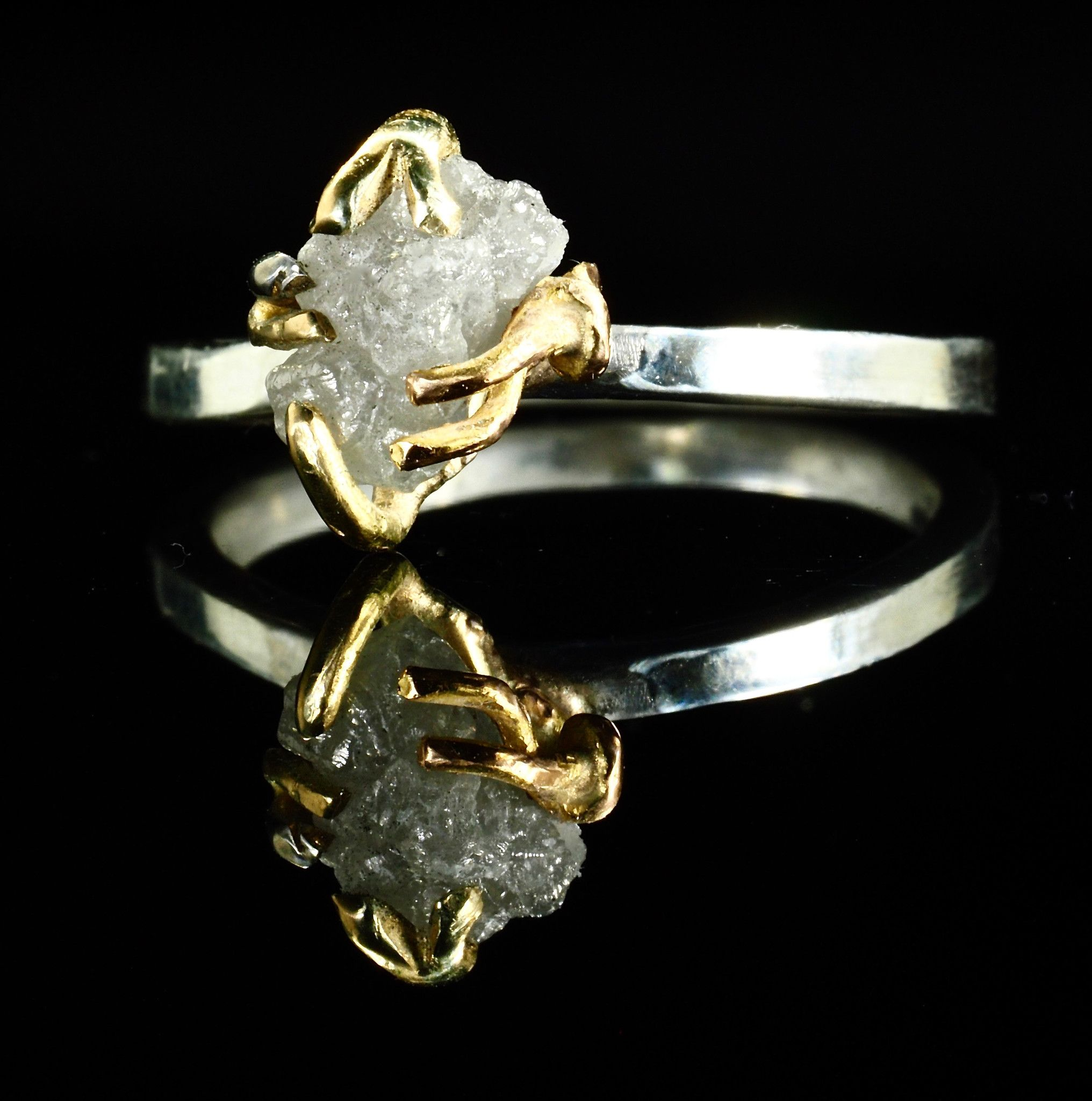 rough diamond made media ring twig gold yellow wedding tree in branch uncut rings raw canada engagement