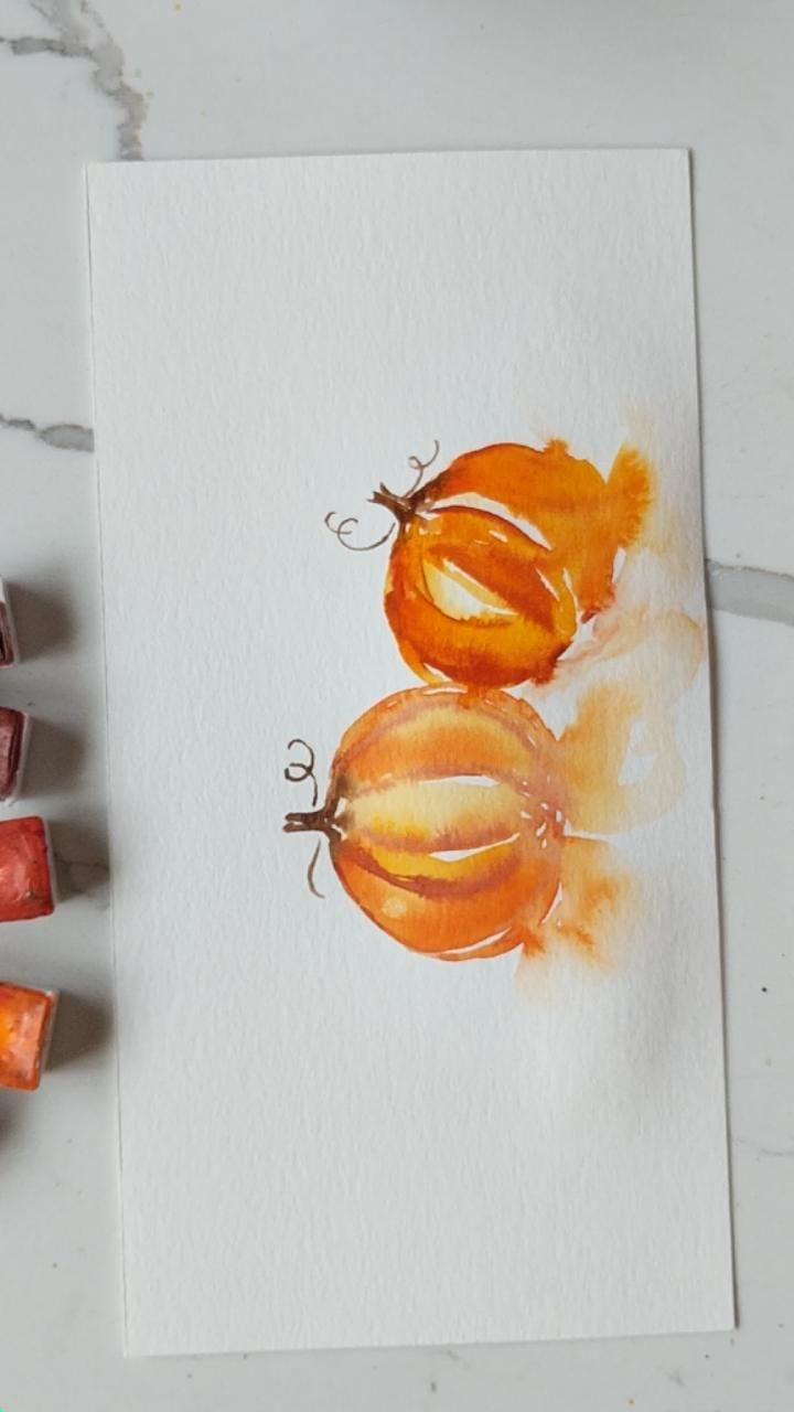 Loose Easy Watercolour Pumpkins