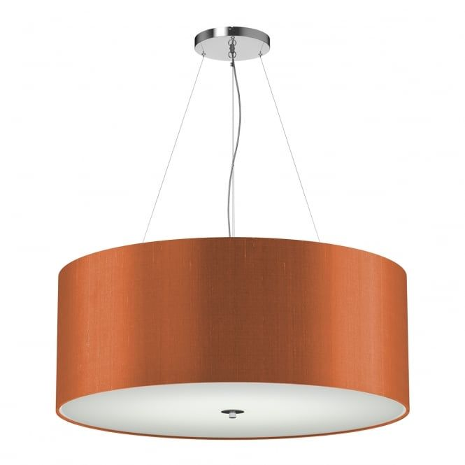 Renoir drum shaped ceiling pendant light with a firefly orange coloured silk fabric shade. The Renoir ceiling pendants are manufactured in the UK au2026  sc 1 st  Pinterest & Renoir drum shaped ceiling pendant light with a firefly orange ...