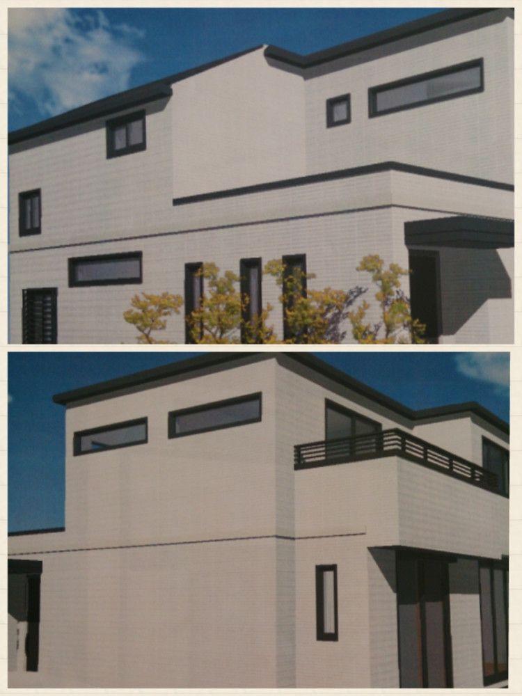 白い外壁 黒いサッシ の案 サッシ ホームウェア 建築