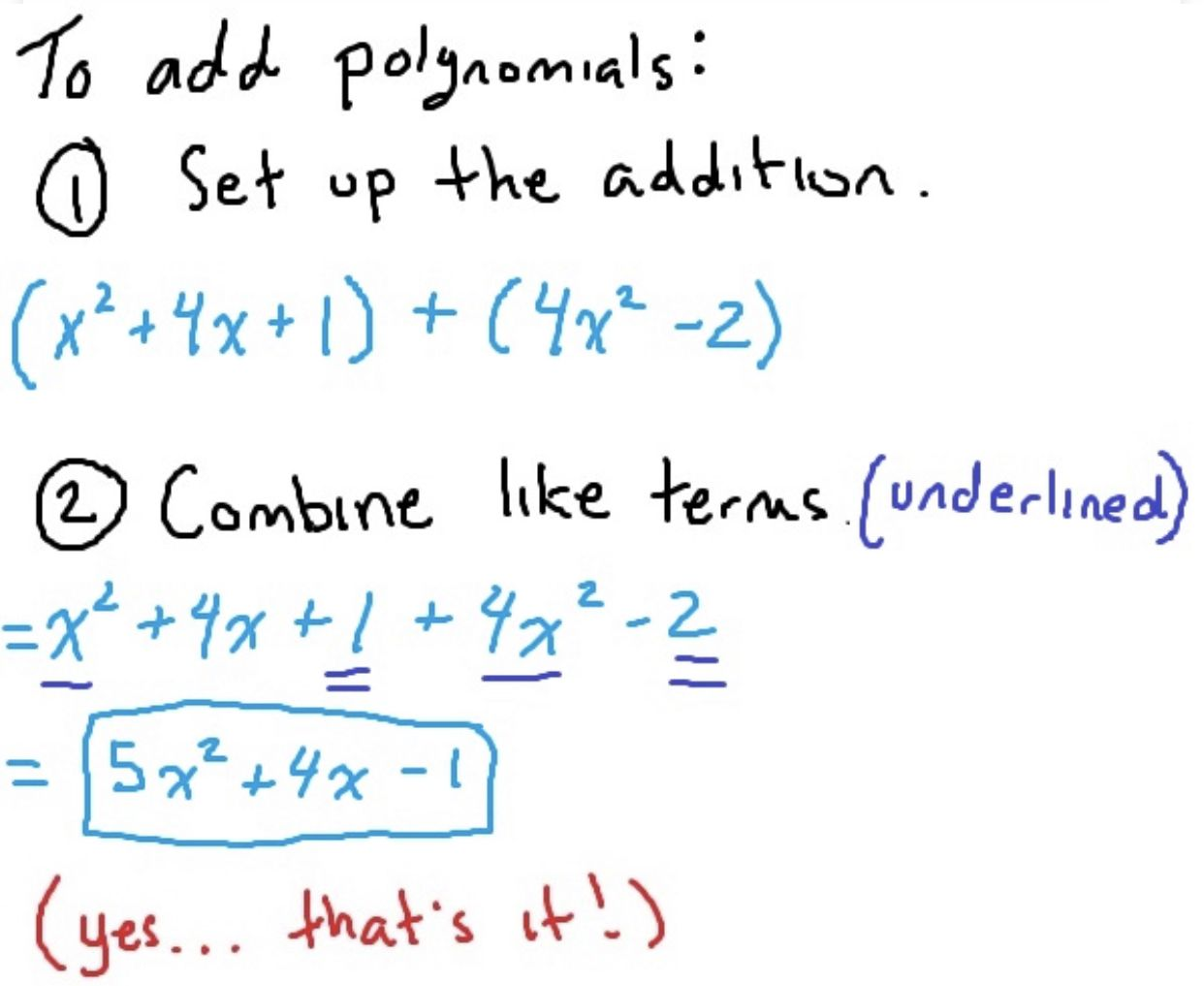 Adding Polynomials Math Expressions Writing Linear Equations Math Facts Addition Addition of rational expressions