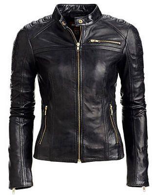 Women Leather Jacket Lambskin Motorcycle Biker Custom Made Real Leather WJ147