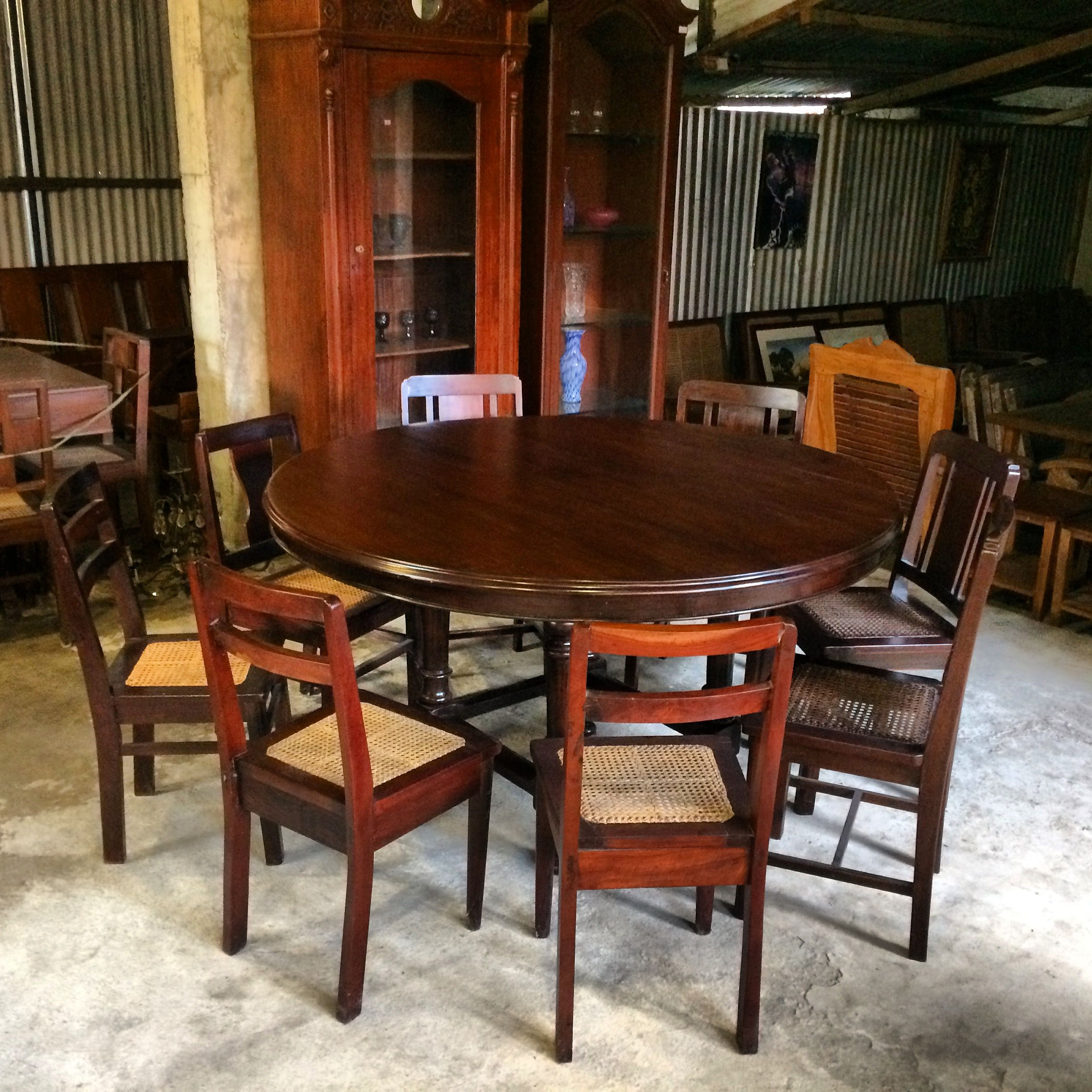 My Seater Vintage     Narra Dining Table     Inch Thick Table 2 Piece Top      Surrounded By Vintage Narra U0026 Balayong Chairs