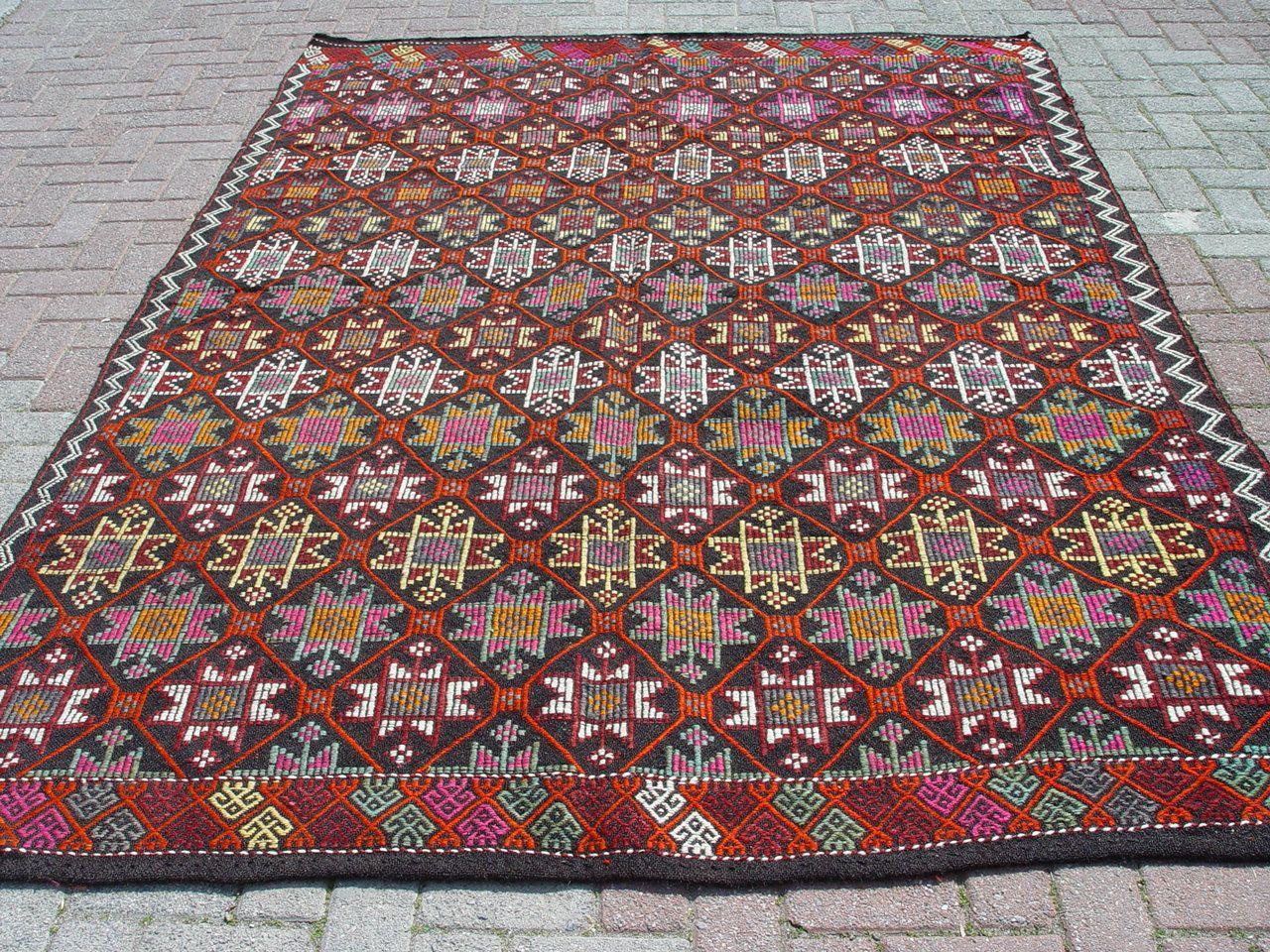 Vintage Turkish Kilim Rug Carpet Cicim Embroidered Handwoven Naturel Goat Hair On Wool