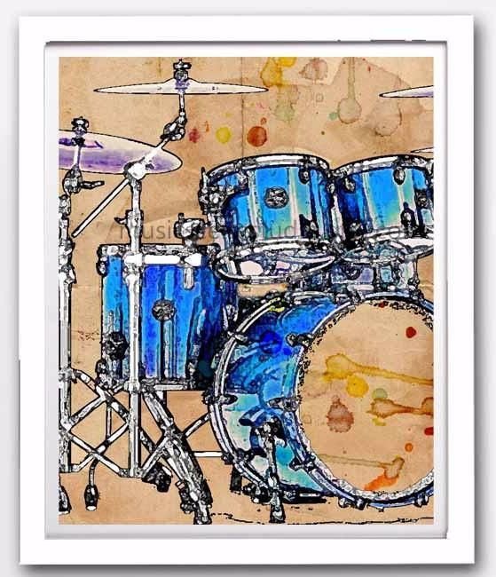 Pin By Ethan Rice On Drums Drums Art Music Collage Instruments Art