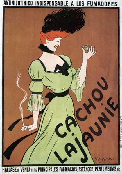 CACHOU LAJAUNIE SMOKING WOMAN FRESH BREATH FRENCH CAPPIELLO VINTAGE POSTER REPRO