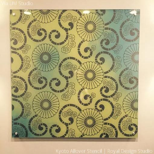 Colorful Wall Art with DIY Wall Stencils - Kyoto Allover Flower ...