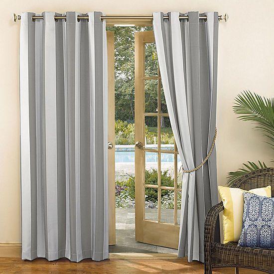 Valencia Uv Protectant Cabana Stripe Grommet Single Curtain Panel