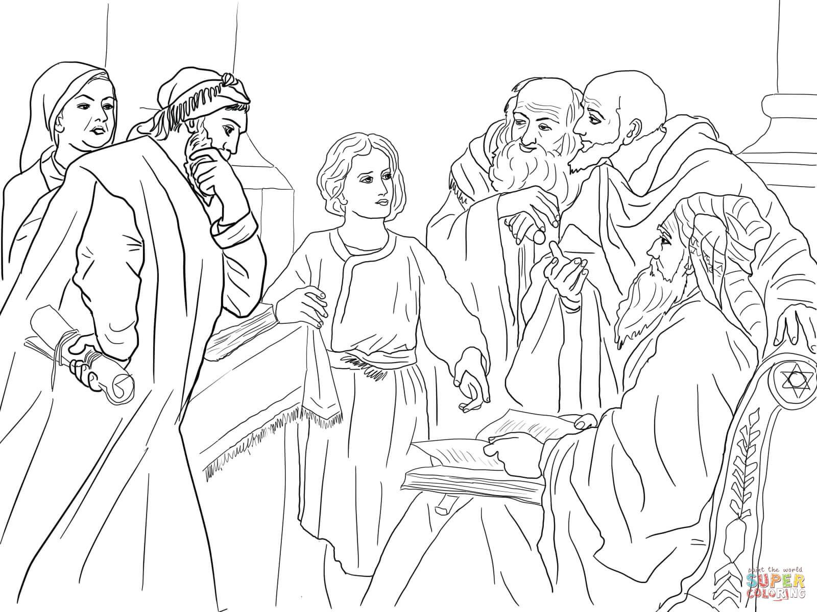 4 Boy Jesus In The Temple Heinrich Hofmann Coloring Page Jpg 1600