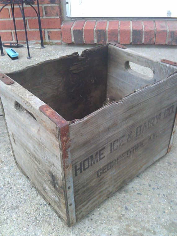 Vintage Wood Dairy Crate - Home Ice and Dairy Co ...