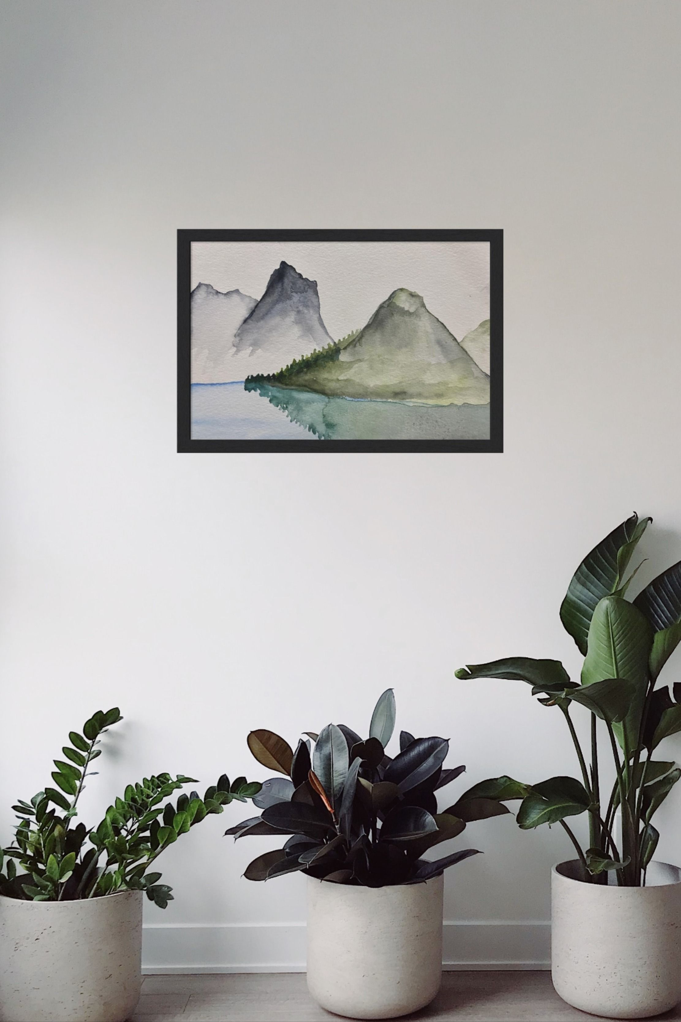 This peaceful watercolor of mountains highlights beauty in the simple scenery of the outdoors. The nature design fits well with many home decor styles. I love the clean lines and graceful watercolor transitions. This beautiful mountain scene wall art will elevate any space.   Click through to find out more!   #mountainart #wallart #modernart #simplehomedecor #livingroomart #mountains #natureart #watercolor #modernprint #outdoorsart #naturewatercolor #etsy #timelessart #simpleandmodern