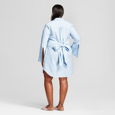 adda0f19e3 Women's Plus Size Striped Shirt Dress - A New Day Light Blue 2X ...