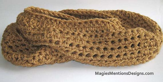 Circle Infinity Scarf and Cowl in One Light Brown - Handmade Crochet$12.00