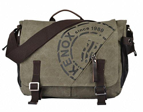 Kenox Canvas Crossbody Messenger Bag Laptop Case Backpack Olive ...