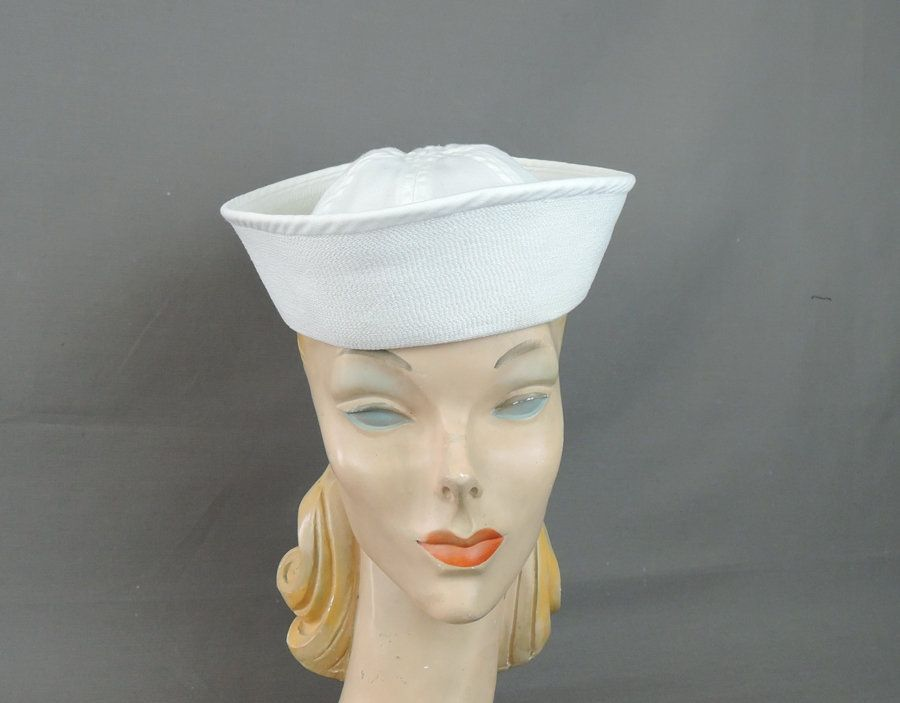 ... where to buy vintage sailor hat 1960s us navy dixie cup white cotton hat  mens size a7a6823ec