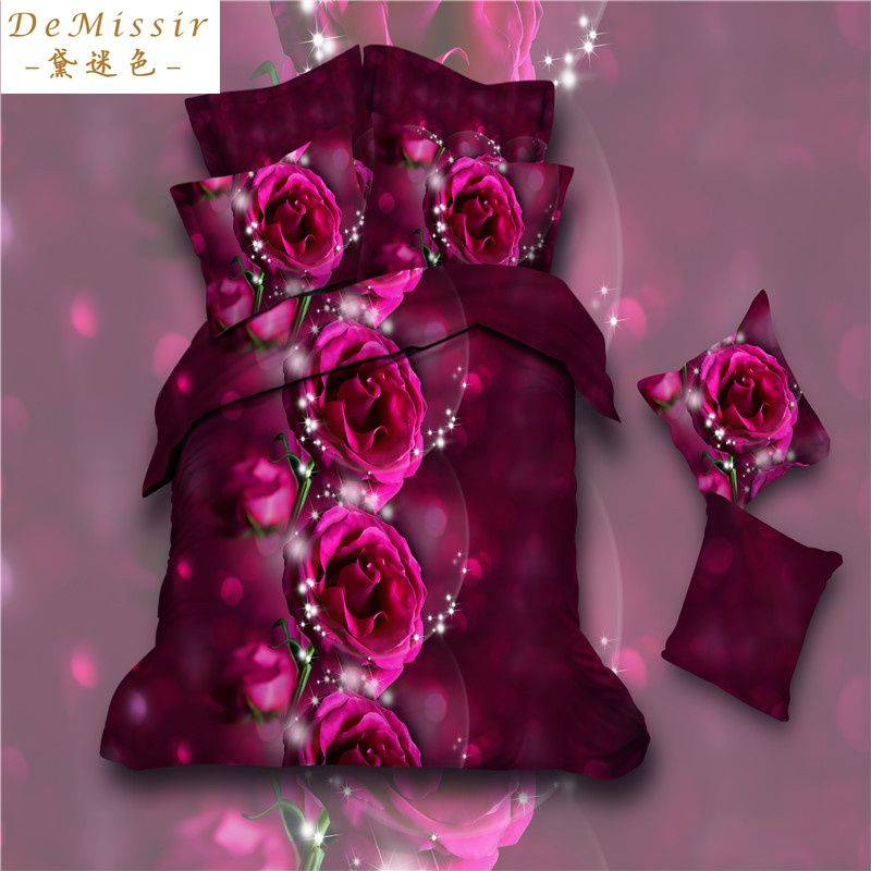 Find More Bedding Sets Information about 3D Print Wine Red Roses Queen Size Bedding Set 4PCS Duvet Cover Sheet 2Pillow Case housse de couette Children fundas nordicas 3d,High Quality sheet cotton,China bedding sheet Suppliers, Cheap bedding blue from Top Qulity Human Hair Factory on Aliexpress.com