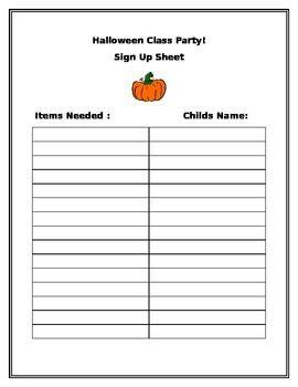 Halloween Class Party Sign Up Sheet Halloween Class Party