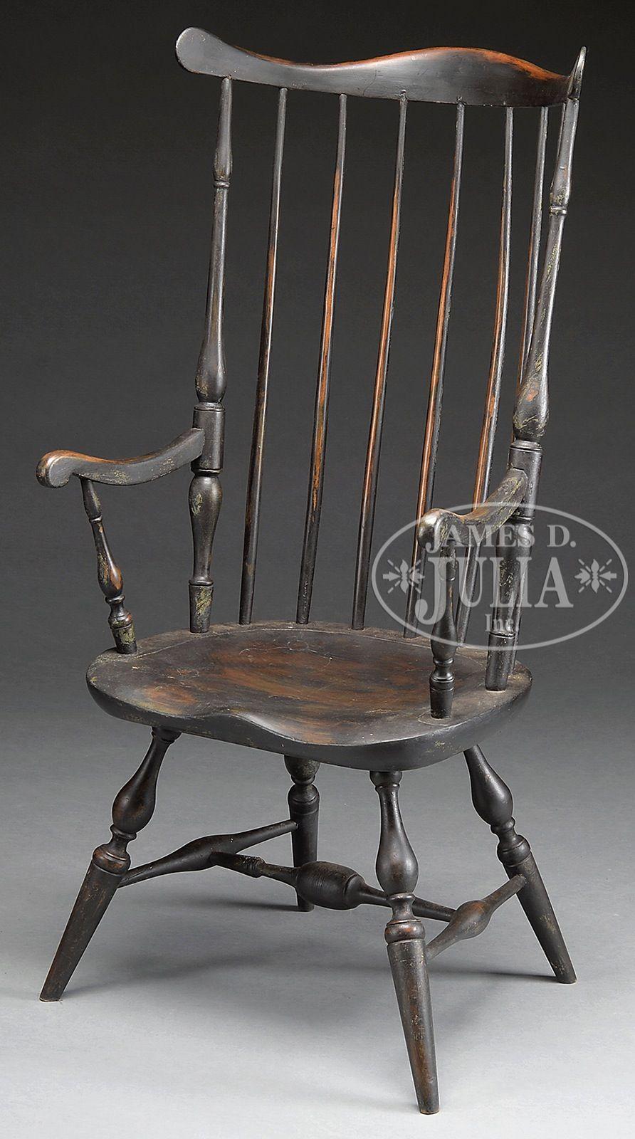 Black painted windsor fanback arm chair james d julia