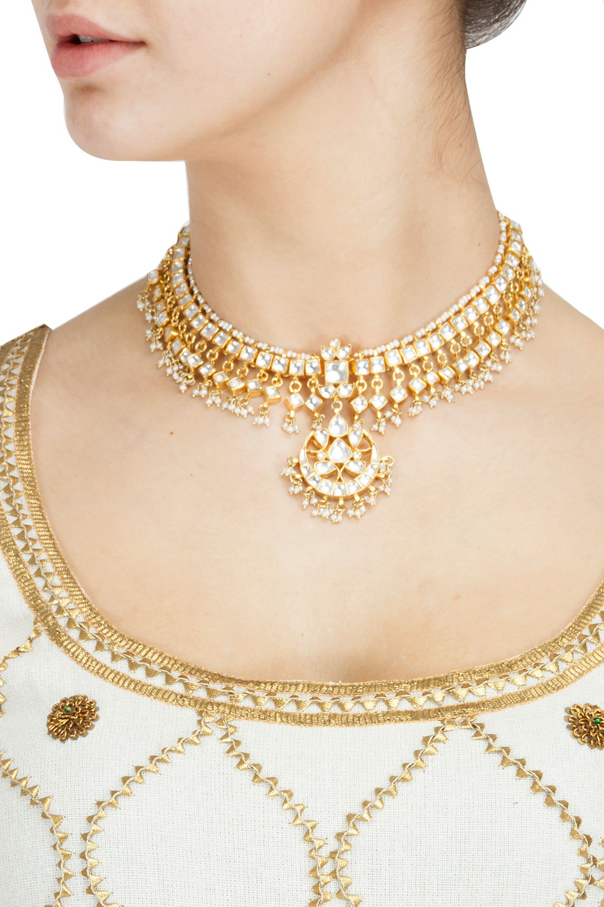 Gold plated crystal pendant thread necklace set available