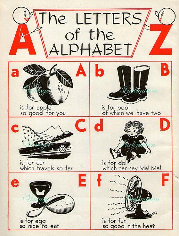 S Delightful Nursery Alphabet Book Plate Abc Chart  Alfabeto