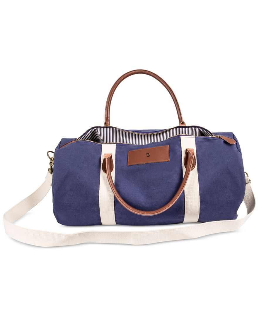 Cathy's Concepts Personalized Navy Canvas & Leather Duffle Bag