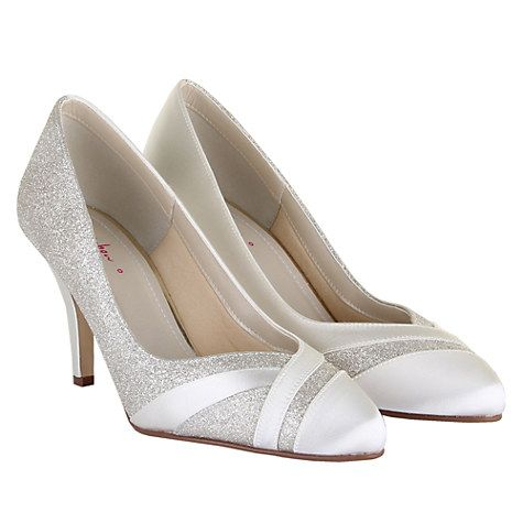 Rainbow Club Mila Extra Wide Fit Glitter Satin Strip Court Shoes Ivory Online At