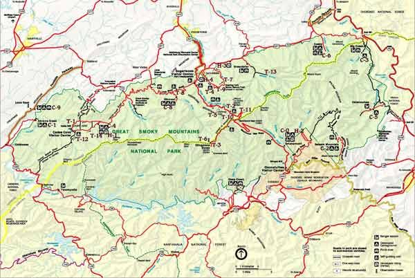 Smoky Mountains National Park Map Great Smoky Stuff