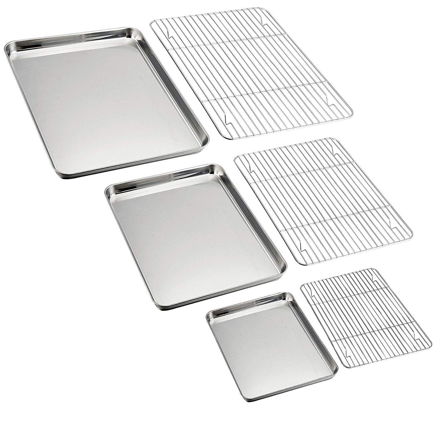 Pandp Chef Baking Sheet And Rack Set 6 Pack 3 Sheets 3 Racks