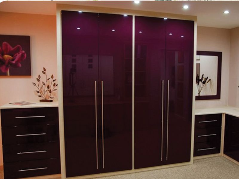 Gorgeous High Gloss Bedroom Furniture Purple White Color Accents