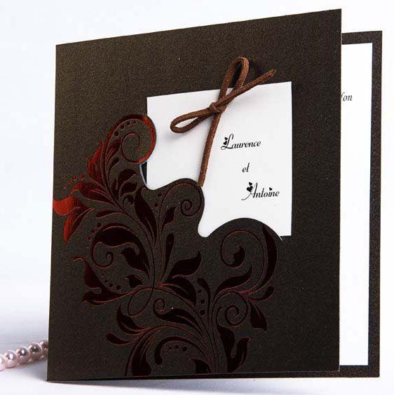 Faire Part Mariage Fleur Rouge Et Chocolat Fpo039 Invitation Menu