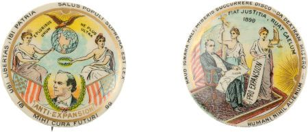 William Jennings Bryan and William McKinley pro- and anti-expansion buttons, with Latin slogans.