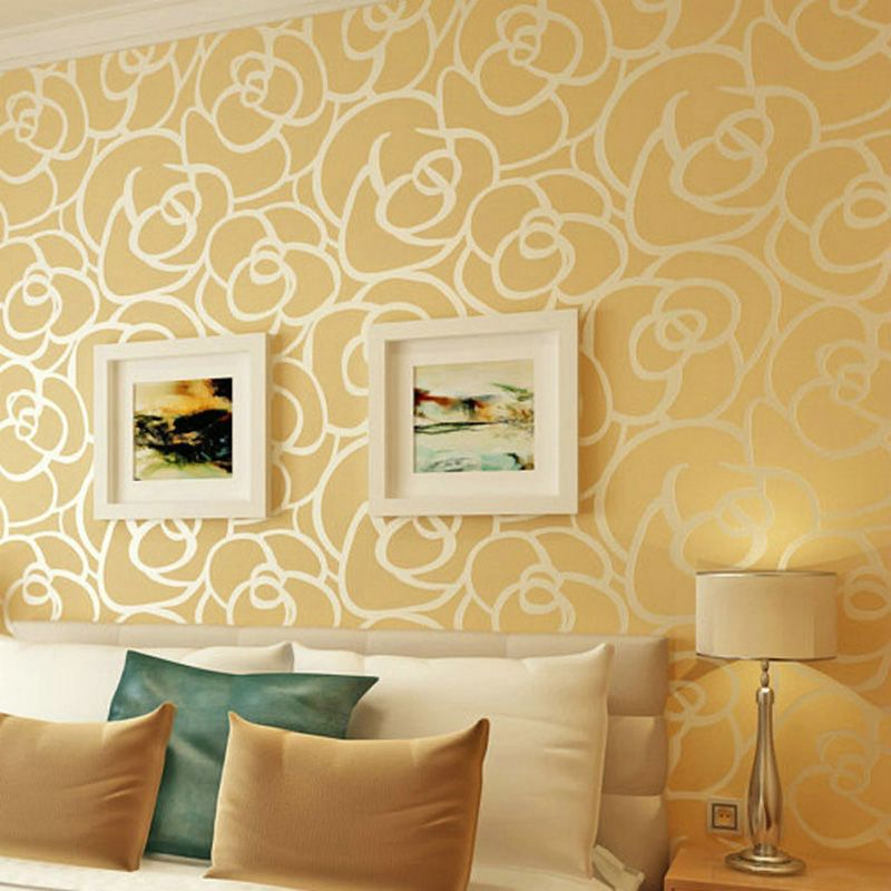 High Quality Romantic Embossed Floral Non-woven Wallpaper Flocking ...