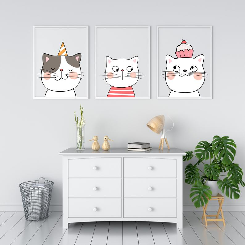 Cats Printable Wall Art Set Of 3 Cute Cat Nursery Etsy In 2021 Cat Decor Bedroom Kids Bedroom Wall Art Cat Themed Bedroom