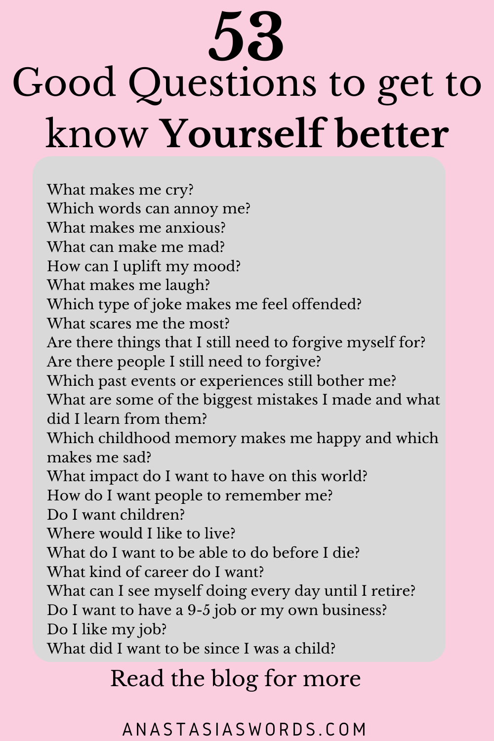 53 Good questions to get to know yourself better