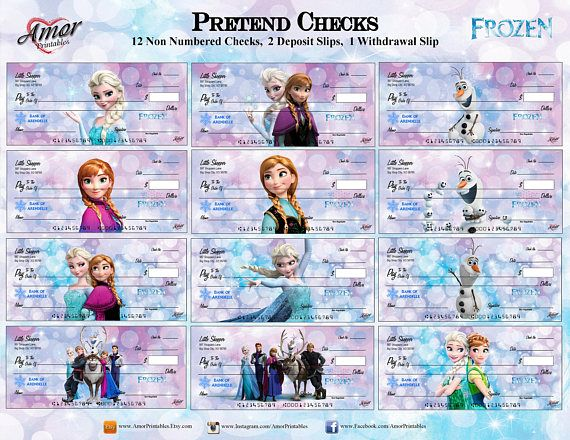 Frozen Pretend Checks Printable Play Money Frozen Party