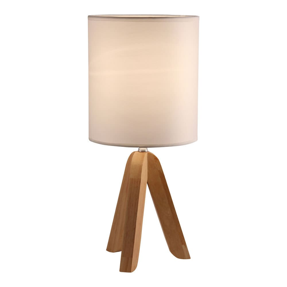 Light Accents Table Lamp Natural Wooden Base With Linen Shade Color Brown