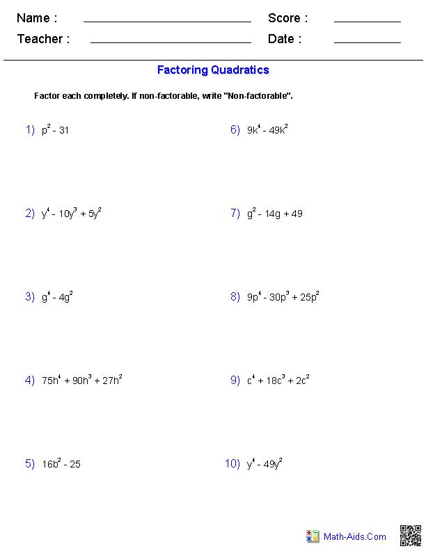Factoring Special Case Polynomials Worksheets | Math-Aids.Com ...
