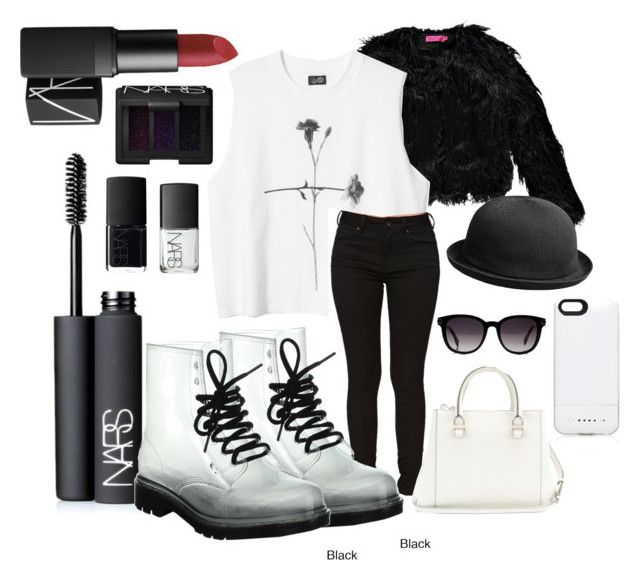 """Black and White -again"" by eva-skerlj ❤ liked on Polyvore featuring NARS Cosmetics, Boohoo, Bullhead Denim Co., Victoria Beckham, kangol, Forever New, Fendi, leatherjacket, blackandwhite and NARS"