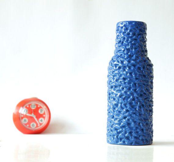 Crazy Blue Panton Pop Bubble Vase - Mid Century Op Art Memphis - 60s 70s