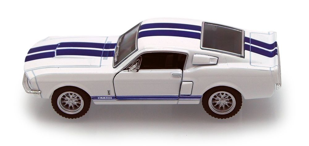 1 38 White W Blue 1967 Shelby Gt500 Kinsmart Diecast Car 5 Smaller Than 1 32 Kinsmart Avtomobil Modeli