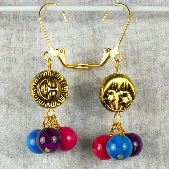 Sun and Moon dangle earrings purple pink blue by beadwizzard