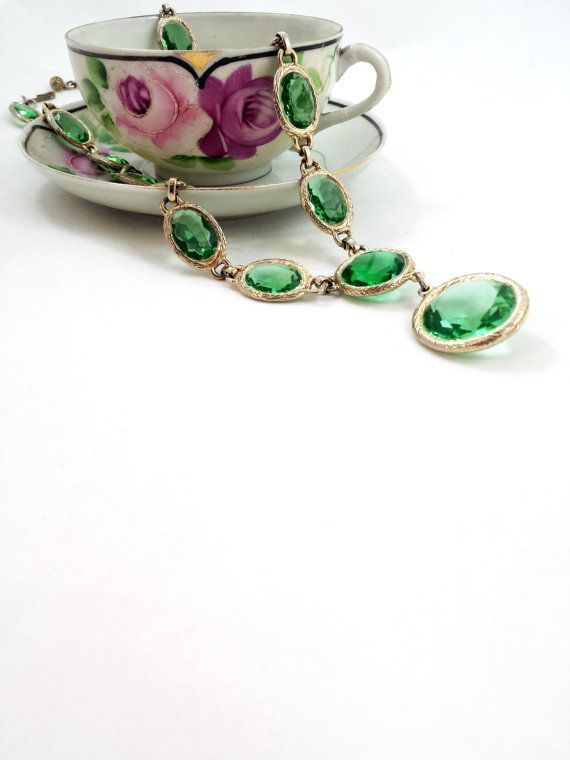 Vintage Peridot Green Glass Rhinestone Long by GalleryThreeSixty