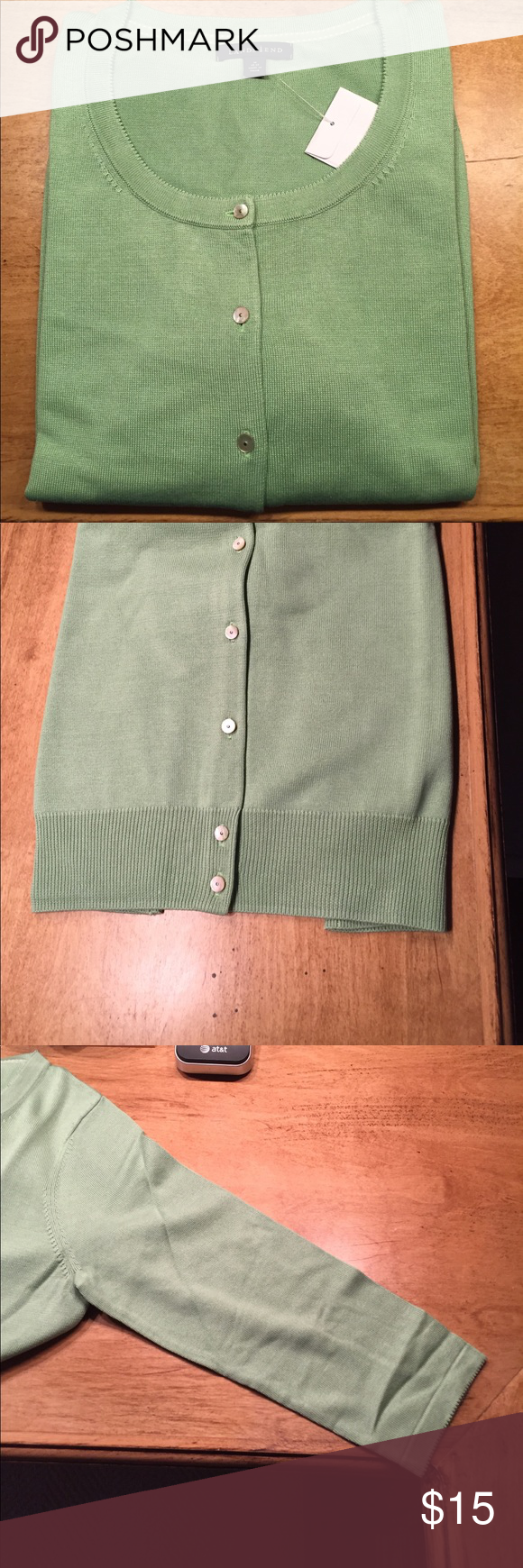 Brand new light green cardigan. This is a new button down cardigan ...