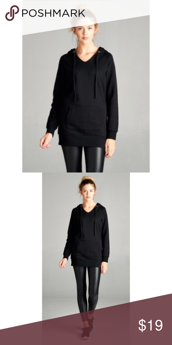 Black Tunic Hoodie Sweatshirt S M L Perfect with leggings!! Black tunic hoodie with pockets , Cotton Blend. Available in size Small, Medium, or Large.  RESTOCK ARRIVING WEDNESDAY/SHIPPING THURSDAY OF NEXT WEEK!! No trades, price firm unless bundled.  BUNDLE 3 OR MORE ITEMS FOR 15% OFF!! Boutique Tops Sweatshirts & Hoodies
