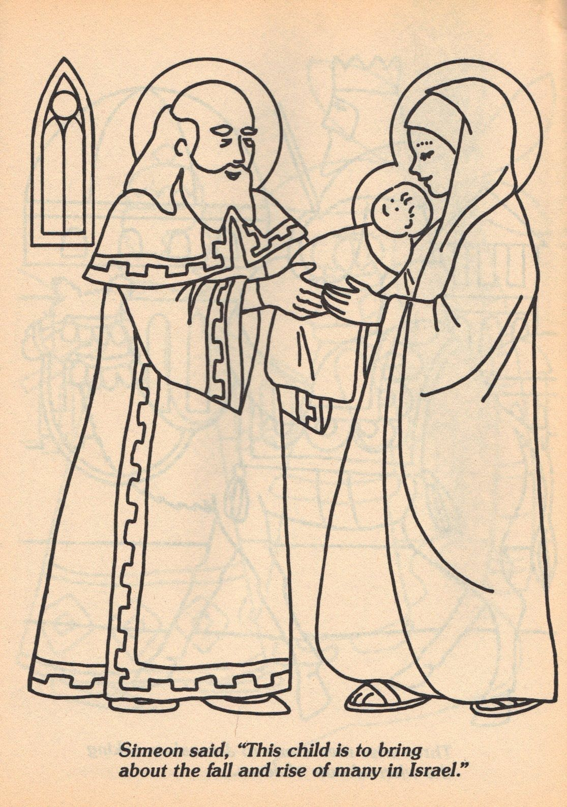 Simeon and Anna coloring page--- this is more of an Epiphany picture ...