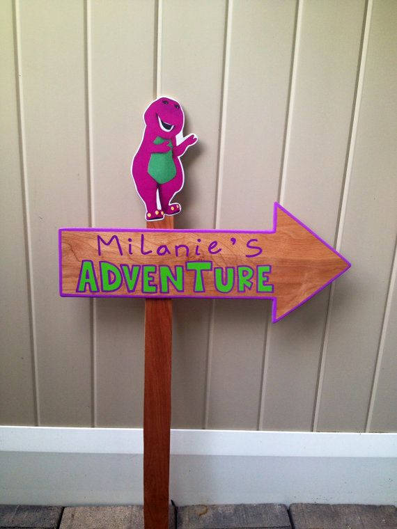 Wood Barney Adventure Sign - Outdoor Post - Barney Birthday Party ...