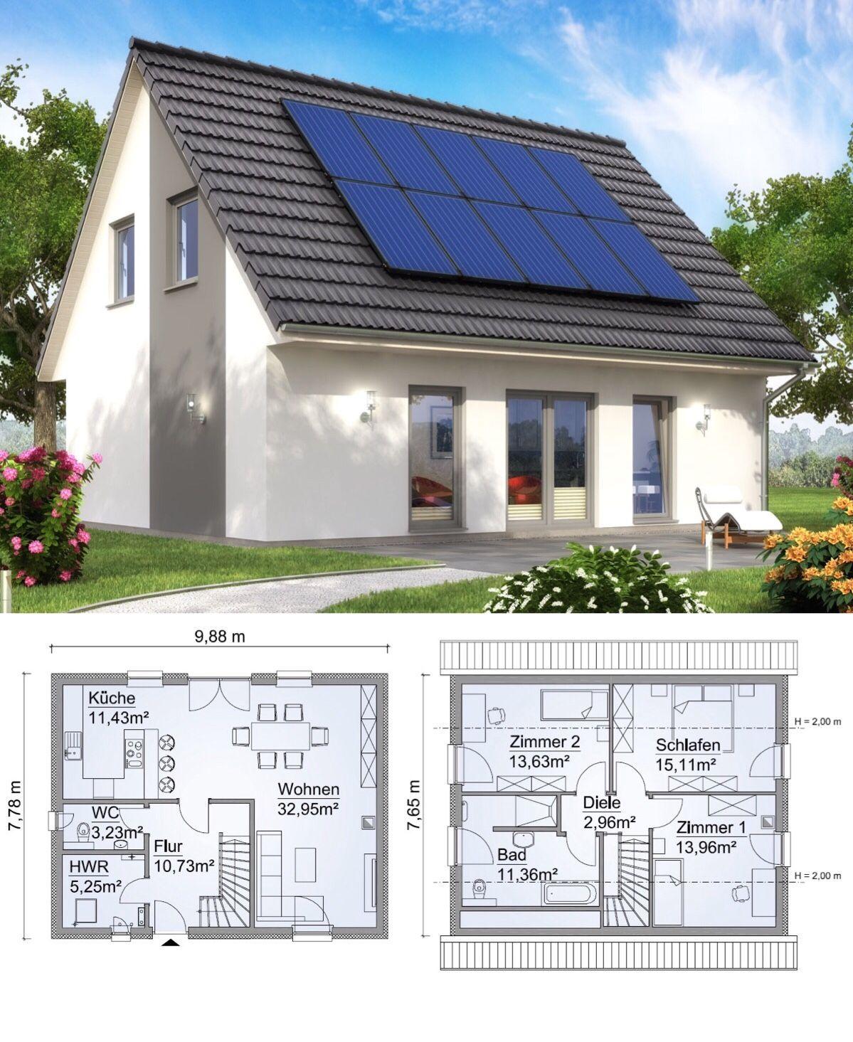 Fertighaus modern mit Satteldach Architektur & 4 Zimmer