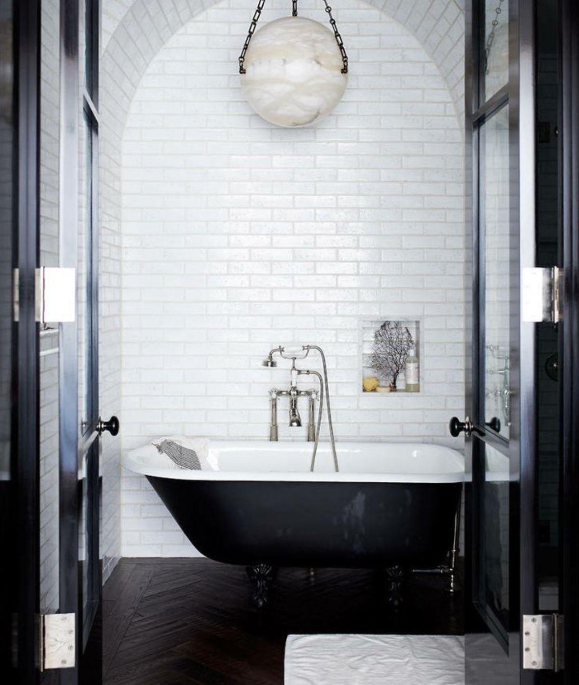 Black heringbone floor bathroom