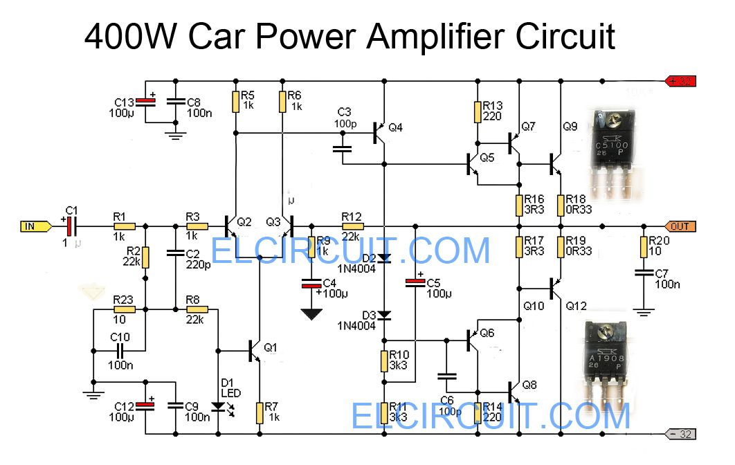 Car power amplifier circuit using C5100 / A1908 | Pinterest