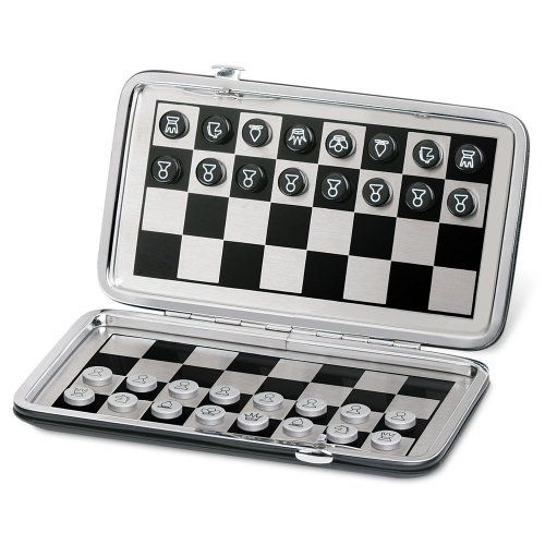 """christine 7"""" pocket travel magnetic chess and checkers board game"""